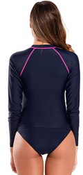 Long Sleeve Zipper Rash Guard Swimsuit - Shekini Swimwear