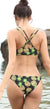 Pineapple Printed Strappy Cross Back Bikini - Shekini Swimwear