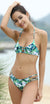 Printed Cutout Halter Triangle Top Strappy Bikini - Shekini Swimwear