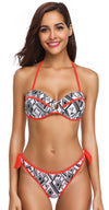Printed Halter Push Up Tie Side Bikini With Underwire - Shekini Swimwear
