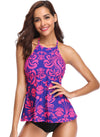 Printed High Neck Halter Ruffle Tankini - Shekini Swimwear