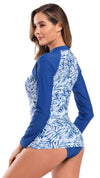 Printed Long Sleeve Rash Guard Swimsuit - Shekini Swimwear