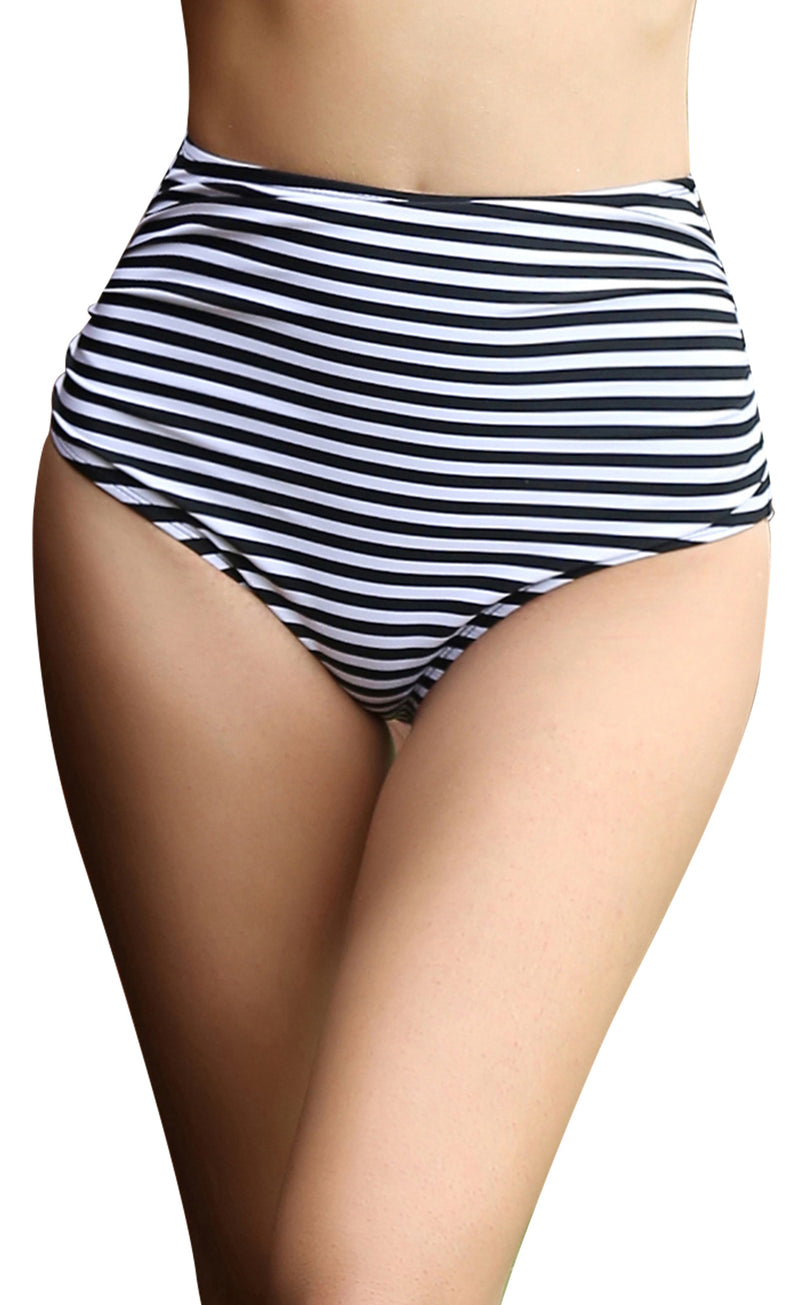 Retro High Waisted Striped Bikini Bottom - Shekini Swimwear