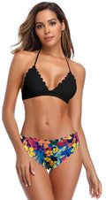 Scalloped Trim Bikini Floral Print Bottom - Shekini Swimwear
