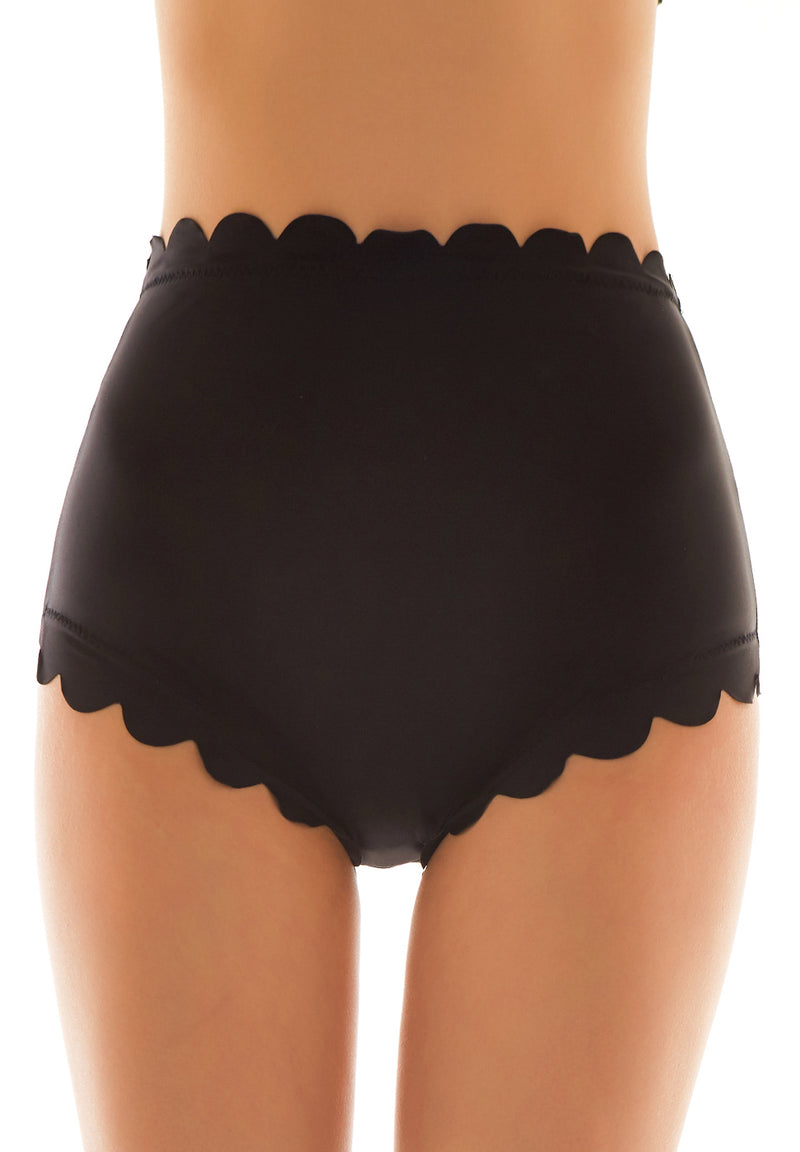 Scalloped Trim High Waisted Bikini Bottom - Shekini Swimwear