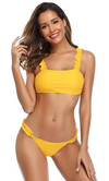 Solid Color Bandeau Ruffled Two Piece Bikini - Shekini Swimwear