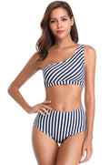 Striped One Shoulder High Waisted Bikini - Shekini Swimwear
