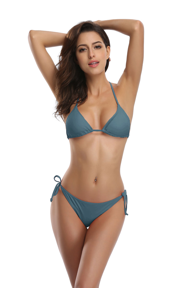 Triangle Halter Bikini Tie Side Bottom - Shekini Swimwear