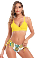 V Neck Lace Up Printed Bikini - Shekini Swimwear