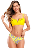 V Wired Ruffle Trim Printed Bottom Bikini - Shekini Swimwear