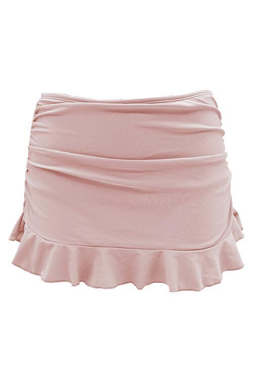 Ruffle Flounce Skirt High Waisted Swim Bottom - Shekini Swimwear