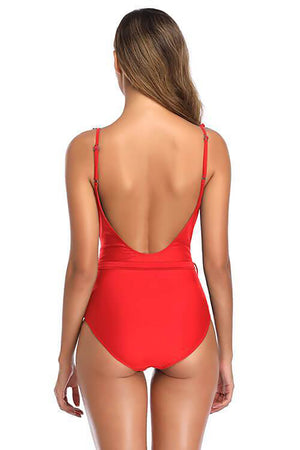 SHEKINI Rose red front twist cross design front padding cute one piece swimsuits