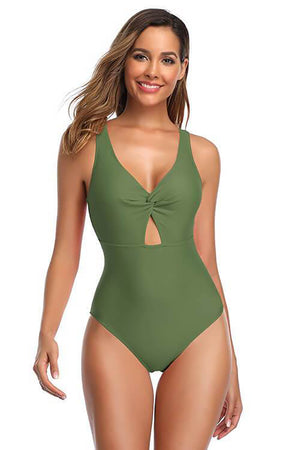 SHEKINI Olive green backless high cut design front padding slimming one piece swimsuit