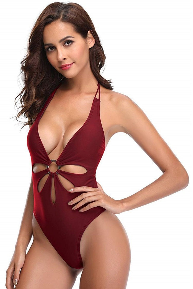 Flower Shaped Cutout Halter One Piece Swimsuit - Shekini Swimwear