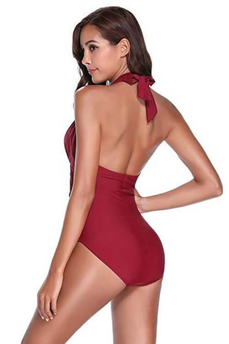 SHEKINI Burgundy backles halter neck tie deep v neck push up one piece swimsuit