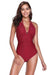 Ruched Halter Backless One Piece Swimsuit - Shekini Swimwear
