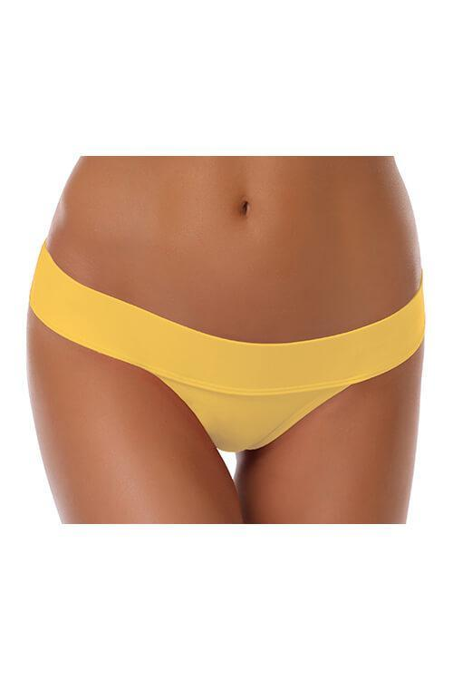 Fold Over Waistband Thong Bikini Bottom - Shekini Swimwear