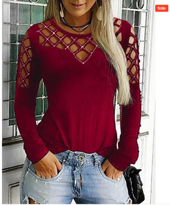 Hollow Out Basic Long Sleeve Cotton T-Shirt - Shekini Swimwear