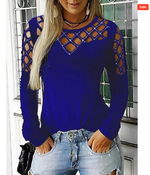 Load image into Gallery viewer, Hollow Out Basic Long Sleeve Cotton T-Shirt - Shekini Swimwear