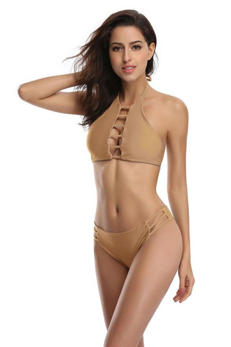 Hollow Out Strappy High Neck Halter Bikini - Shekini Swimwear