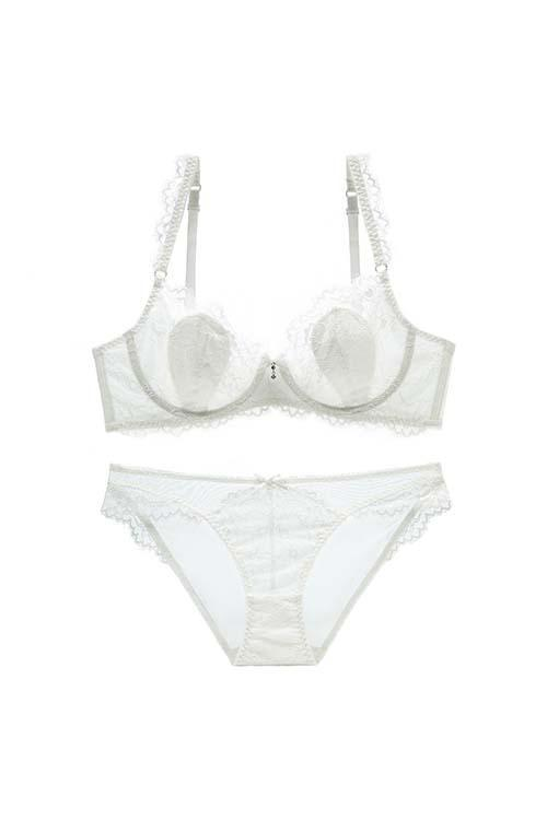Lace Embroidery Bra And Panty Lingerie Set - Shekini Swimwear
