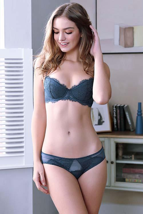 LACE EMBROIDERY UNDERWEAR SEXY BRA AND PANTY