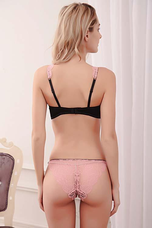 LACE SEXY NO PADDED UNDERWIRE BRA AND KNICKERS SET