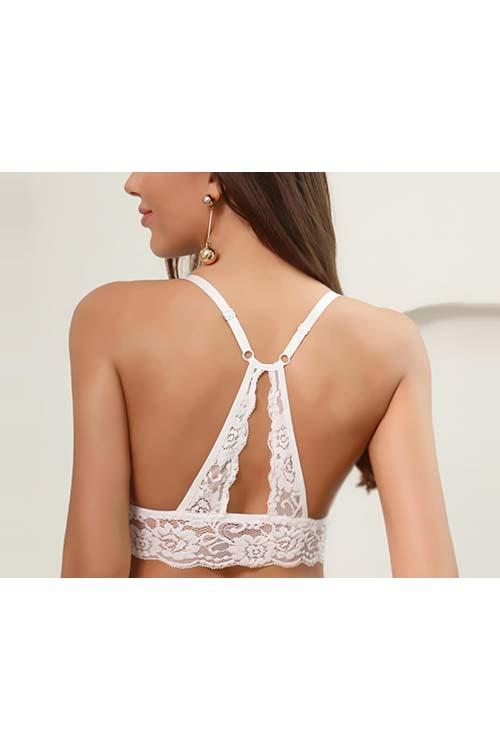 LACE WITH HOLLOW LACE RACERBACK NON-WIRED BRA