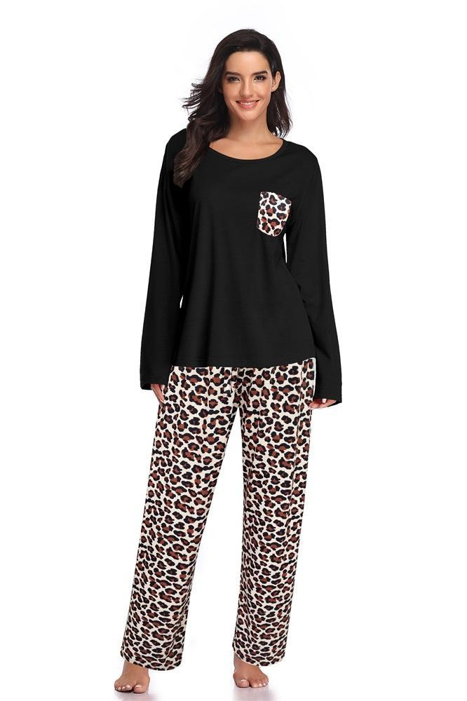 Long Sleeves Top With Printed Trousers Pajamas - Shekini Swimwear