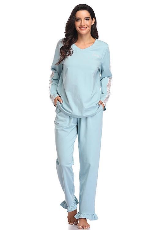 Long Sleeves Top With Pant Pajama Set - Shekini Swimwear