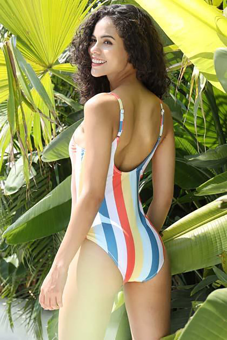 SHEKINI Color stripe have padding backless one piece bathing suits