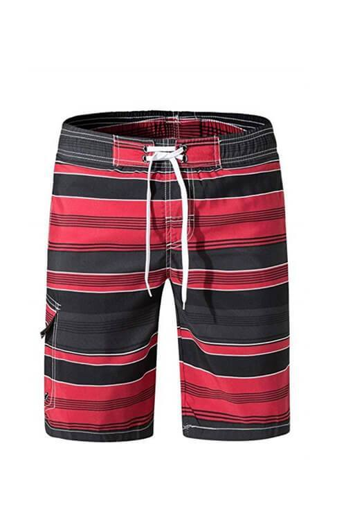 MEN'S BEACH PANTS SWIMWEAR STRIPED SWIM SHORTS SWIM TRUNKS WITH MESH LINING