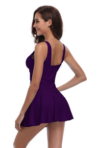 V Neck Solid Color Skirted One Piece Swimdress - Shekini Swimwear