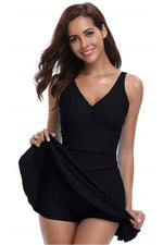 Load image into Gallery viewer, V Neck Solid Color Skirted One Piece Swimdress - Shekini Swimwear