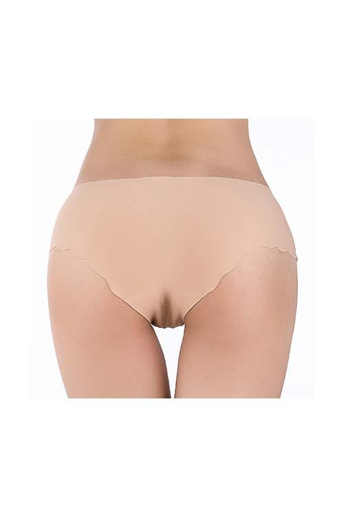 SEAMLESS INVISIBLE BRIEF PANTIES FALBALA PURE COLOR UNDERWEAR FOR WOMEN