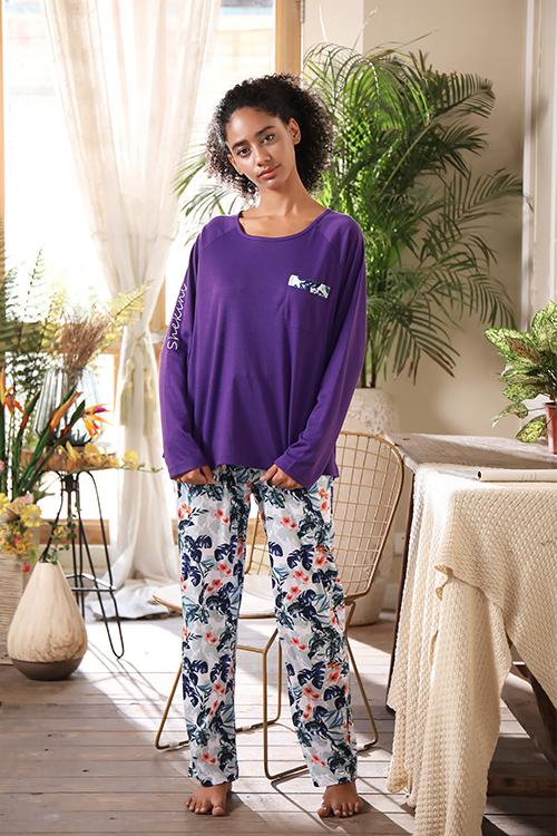 SHEKINI   Printed Long Sleeve Sleepwear