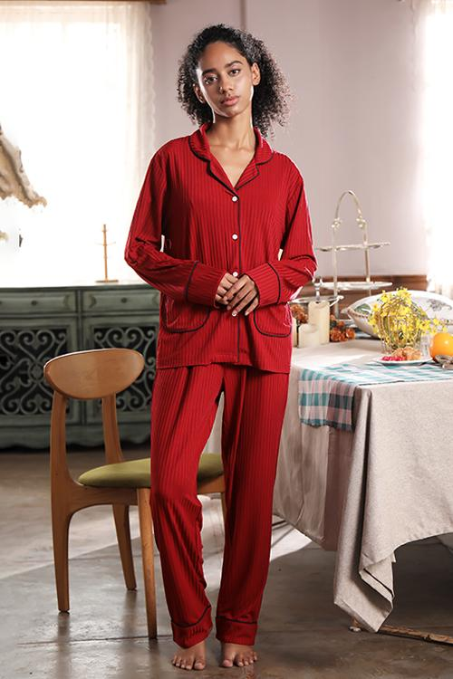 SHEKINI  Women Button Down Sleepwear