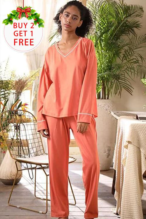 SHEKINI Women's V-Neck Sleepwear Long Sleeves