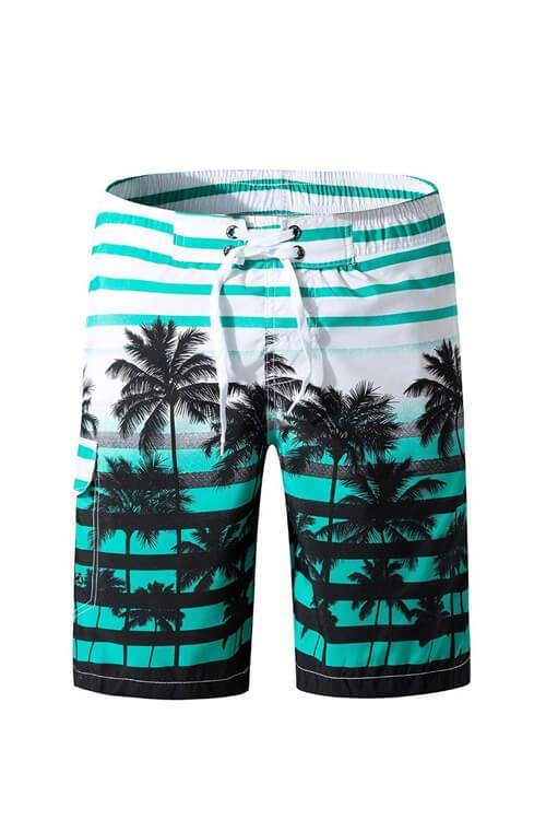 SUMMER BEACH SHORTS COCONUT TREE PRINT SWIM TRUNKS TROUSERS SHORT
