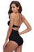 Scalloped Trim High Waisted One Piece Swimsuit - Shekini Swimwear