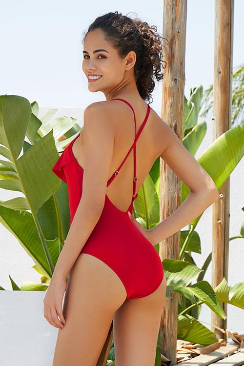 V NECK CROSS FLOUNCE PADDING SWIMSUIT