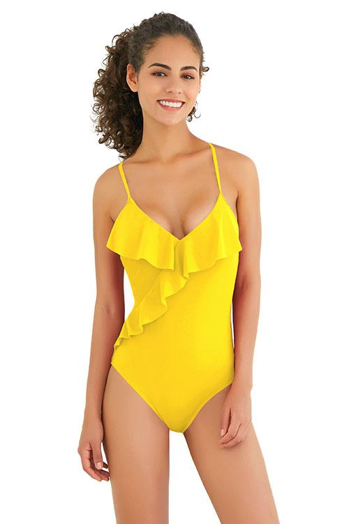 V Neck Cross Back Flounce One Piece - Shekini Swimwear