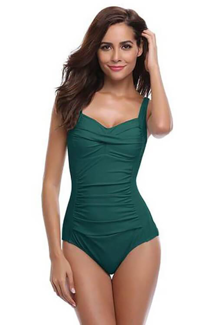SHEKINI FOREST GREEN VINTAGE SHIRRED ATTRACTIVE ONE PIECE CUTE BATHING SUITS