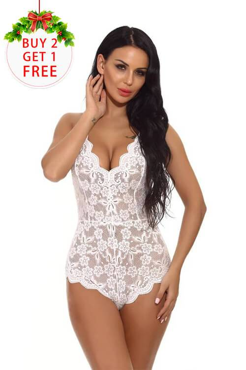 Women Lace Babydoll Halter Dress V-Neck Lingerie Sexy One Piece