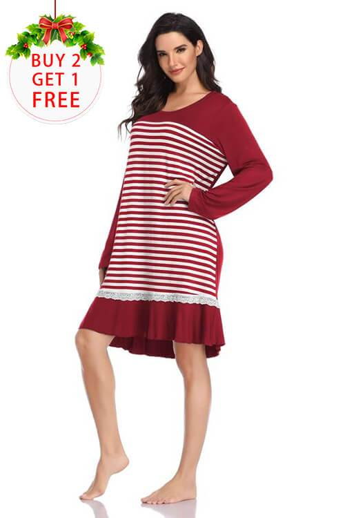 Women Long Sleeve Pajama  Sleep Shirt Dress
