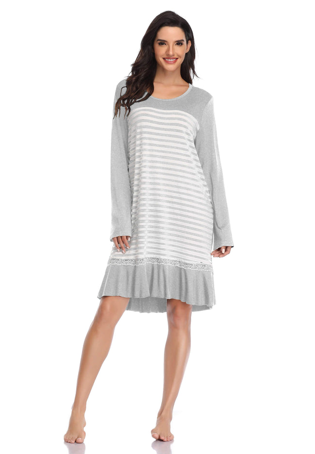 Women Long Sleeve Pajama  Sleep Shirt Dress - Shekini Swimwear