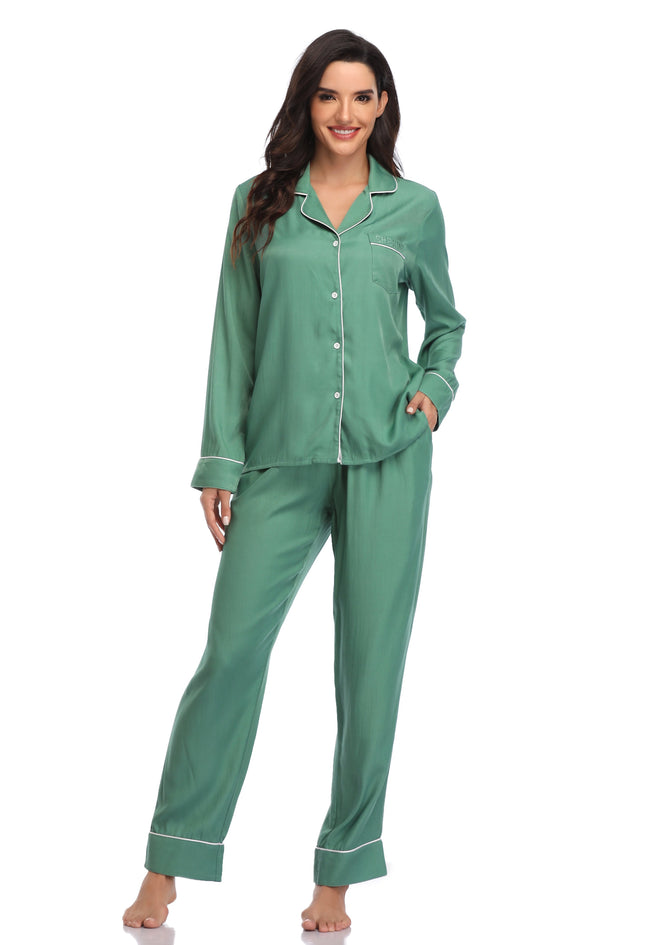 Women's Long Sleeve Button Down Sleepwear - Shekini Swimwear