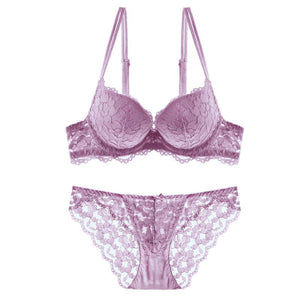 Women's Push Up Embroidery Bras Lace Lingerie Bra and Panty Sets 2 Piece