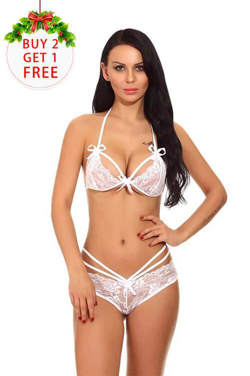 Women's Sexy Lace Strappy Halter Lingerie Cute Bowknot Babydoll Set