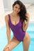 Zipper Front Backless High Cut One Piece - Shekini Swimwear